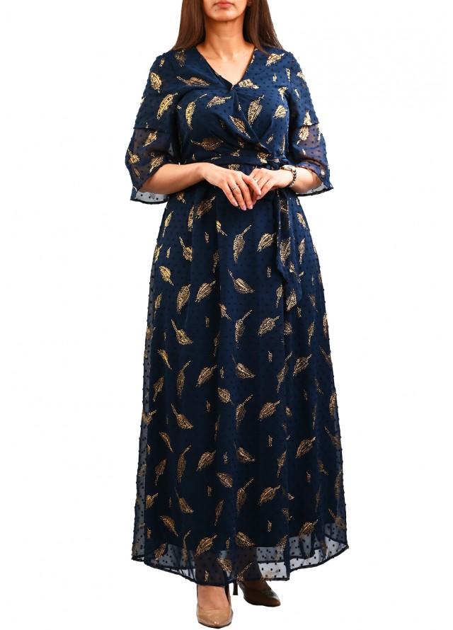فستان شيفون بنقشات ذهبيه بلون كحلي
