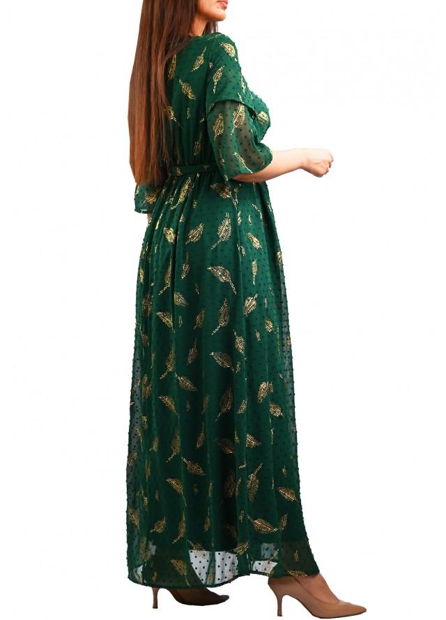 فستان شيفون بنقشات ذهبيه بلون اخضر