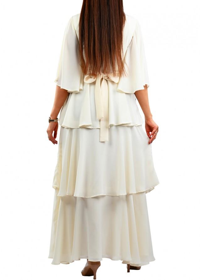 فستان سهرة كلوش طبقات بلون ابيض