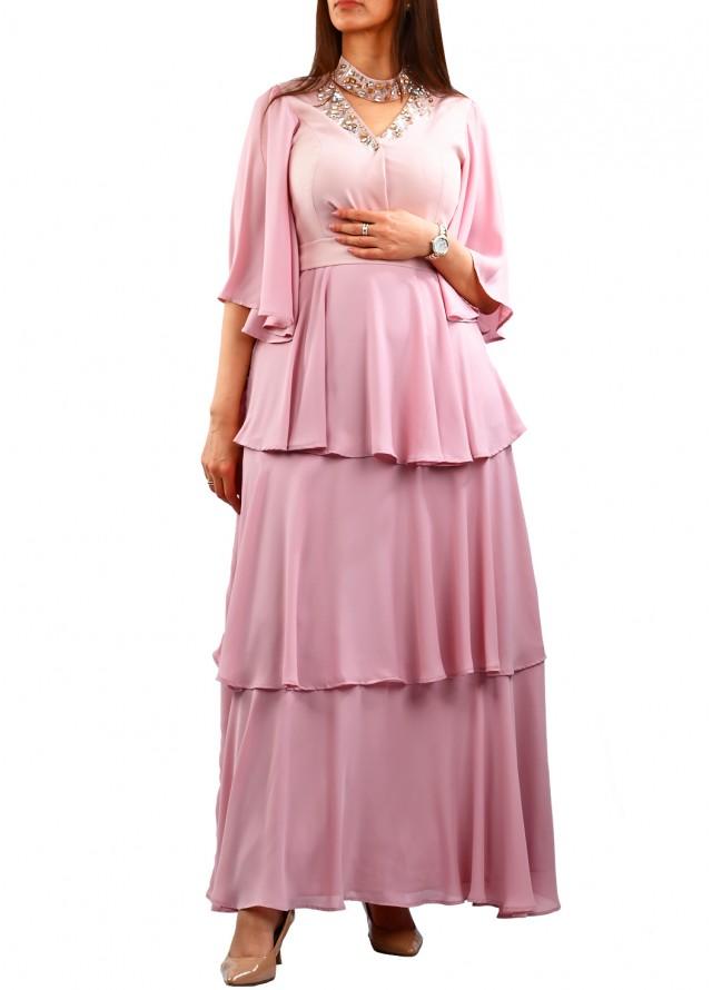 فستان سهرة كلوش طبقات بلون الزهري