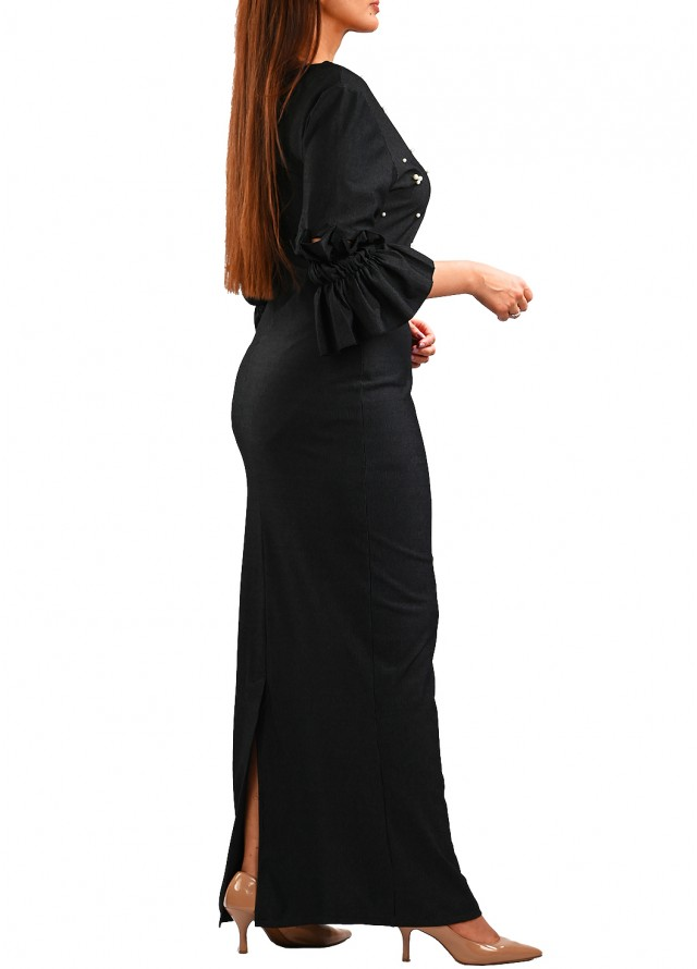 فستان أسود بشك لولو