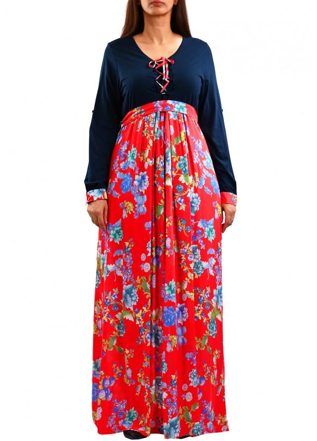 فستان مشجر قصة صدر مرتفعة بلون احمر