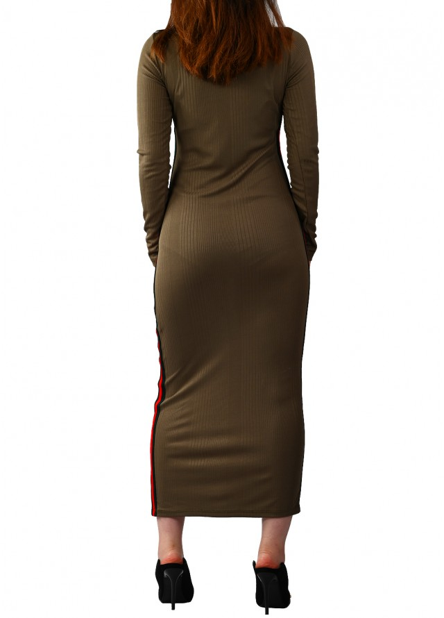فستان ميدي سبور سترتش بلون زيتي