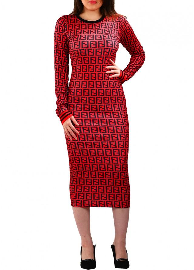 فستان سترتش رسمة فندي بلون عودي