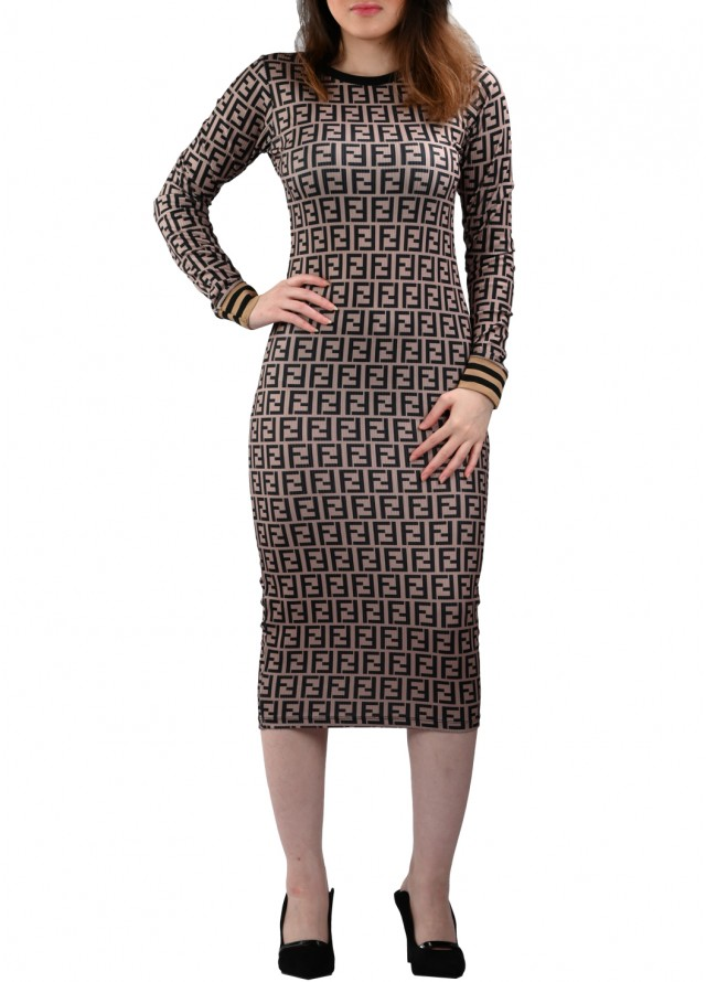 فستان سترتش رسمة فندي بلون بني