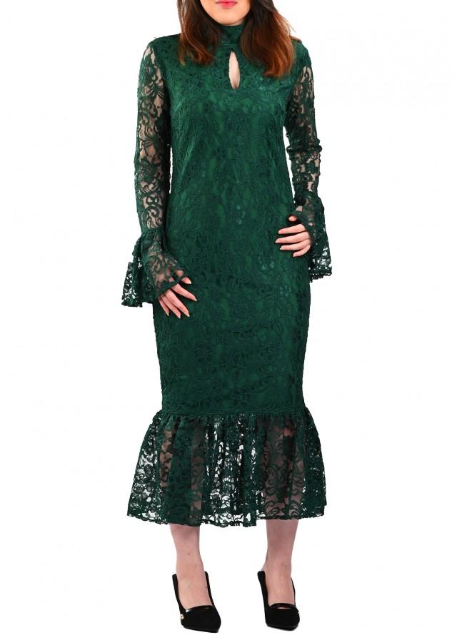 فستان دانتيل قصة سمكة بلون اخضر