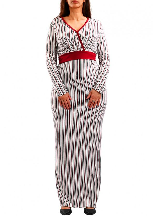 فستان سترتش مقلم ابيض