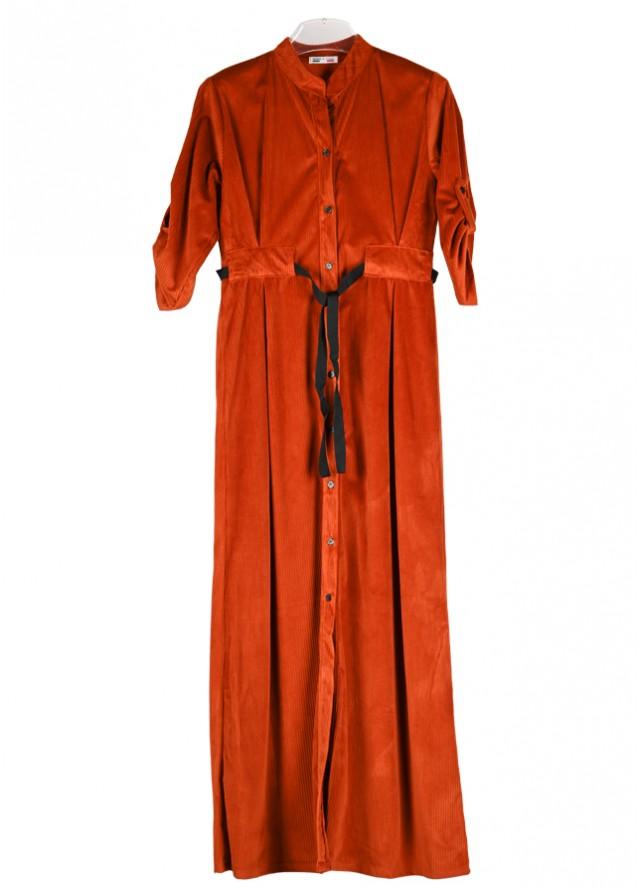 فستان مخمل بني
