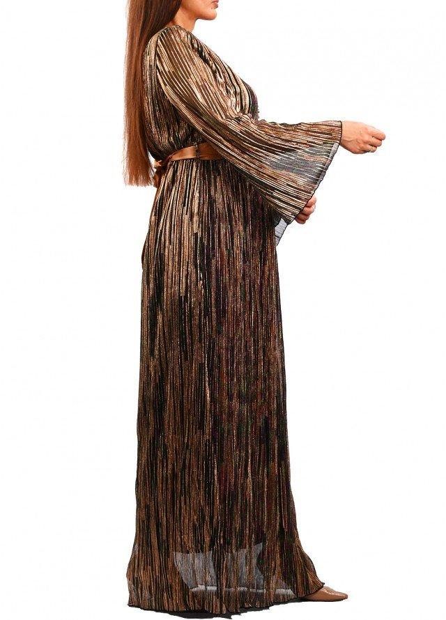 فستان لامية مموج بلون اسود