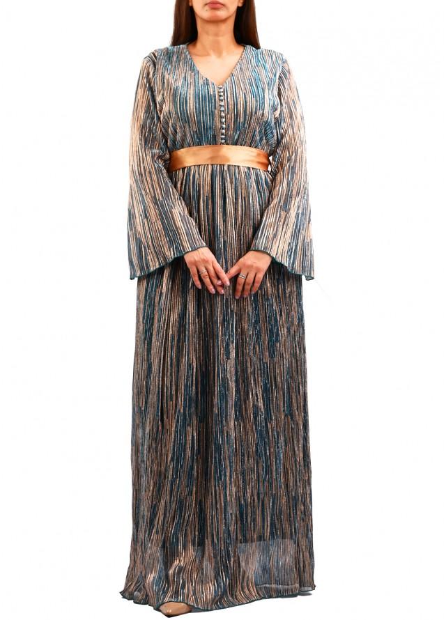 فستان لامية مموج بلون رمادي