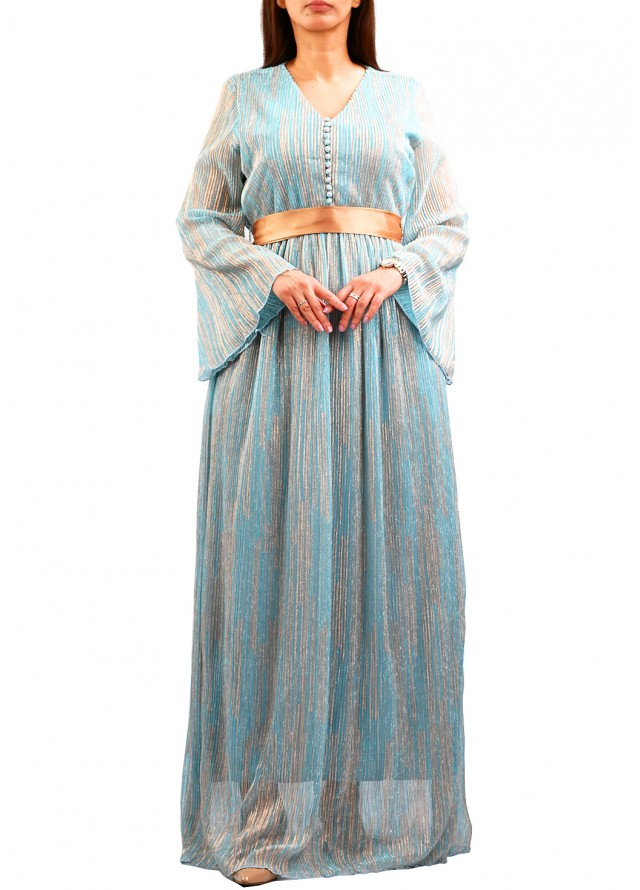 فستان لامية مموج بلون سماوي