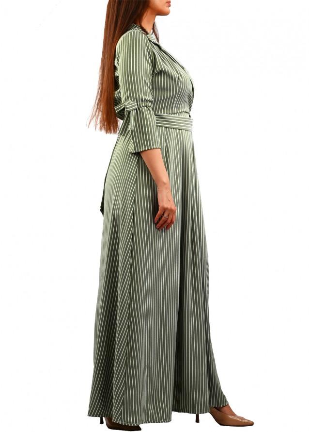 فستان رسمي مقلم ومكسي بلون زيتي