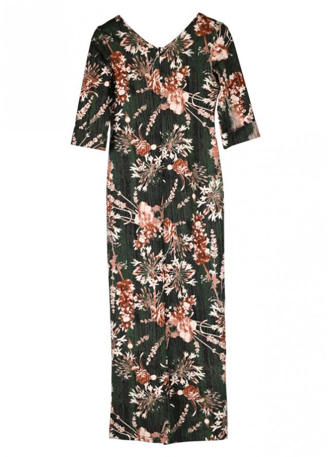 فستان مشجر زيتي