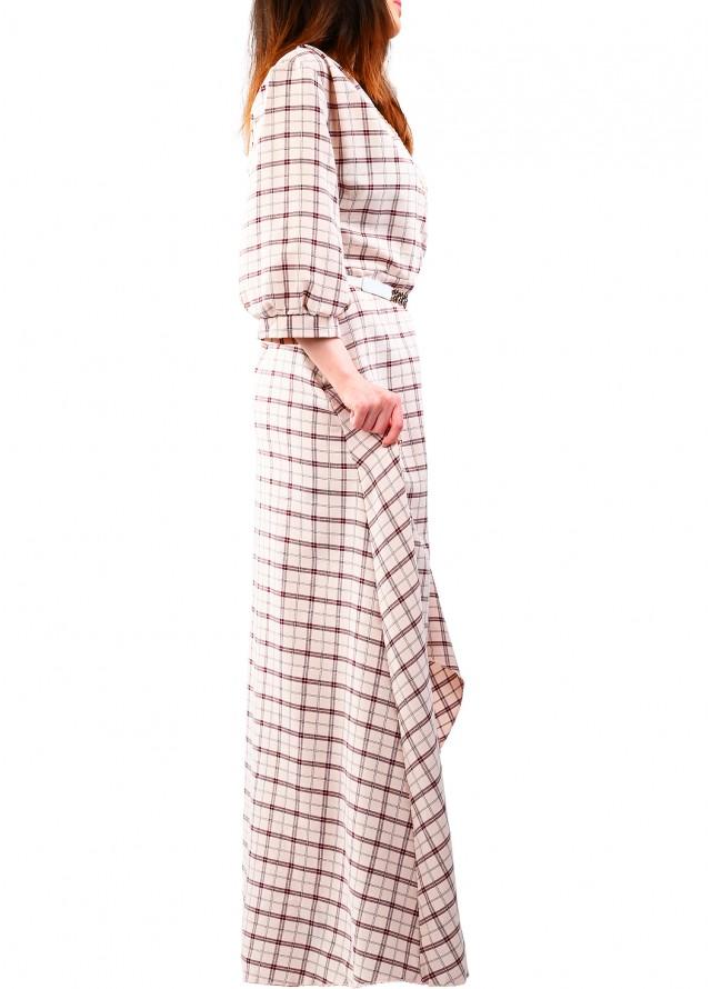 فستان برسمة كاروهات وقصة امامية قصيرة