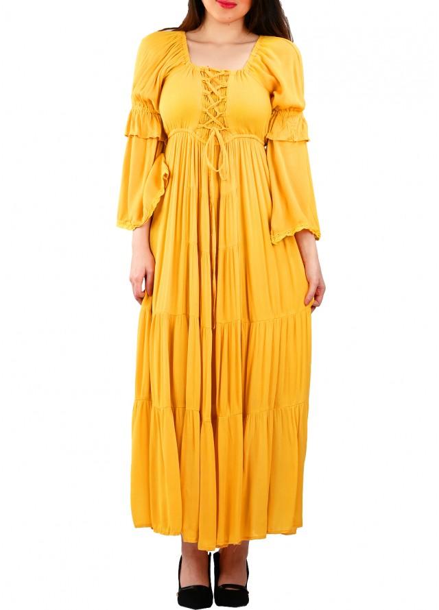 فستان ستايل ريفي بلون اصفر