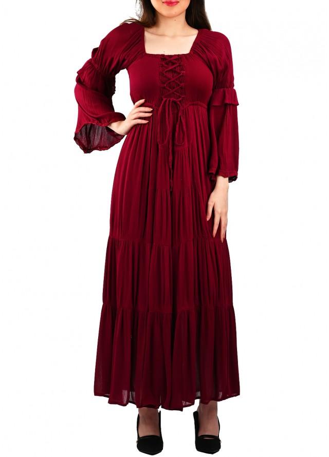 فستان ستايل ريفي بلون عنابي