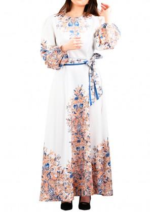 فستان حرير مشجر بلون ابيض