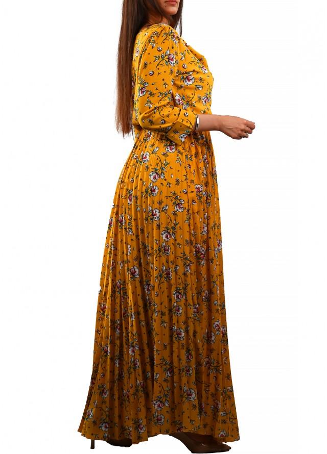 فستان حرير صيفي مشجر بلون أصفر