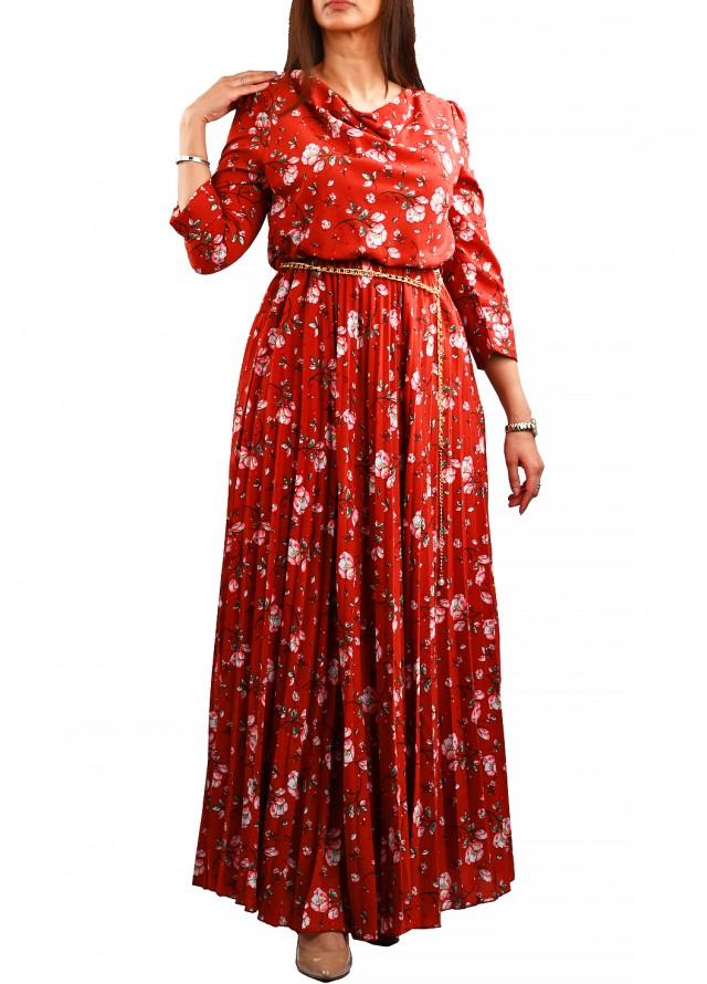 فستان حرير صيفي مشجر بلون بني