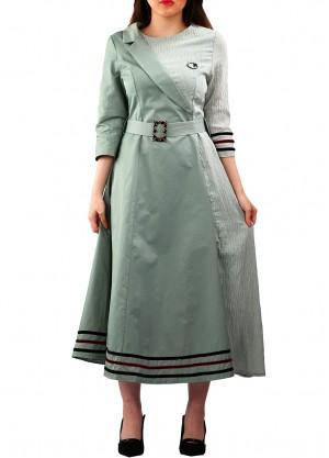 فستان ميدي لف على الجنب بلون رمادي