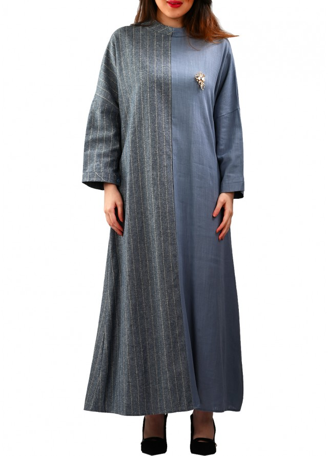 فستان محتشم بخامتين من الكتان