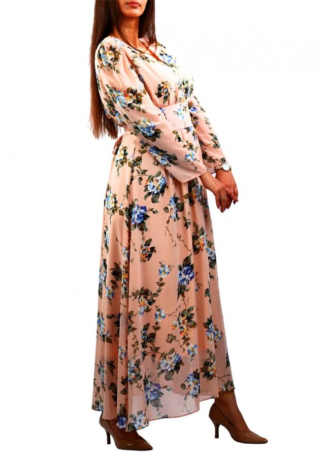 فستان شيفون جورجيت مشجر بلون زهري