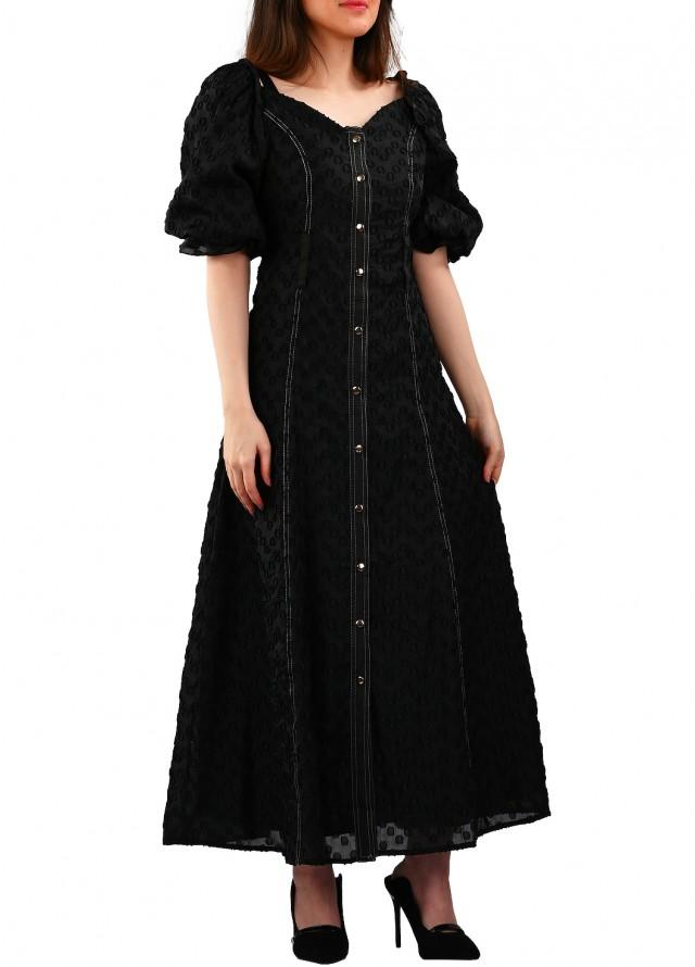 فستان شيفون أسود بقصة خصر ضيقة