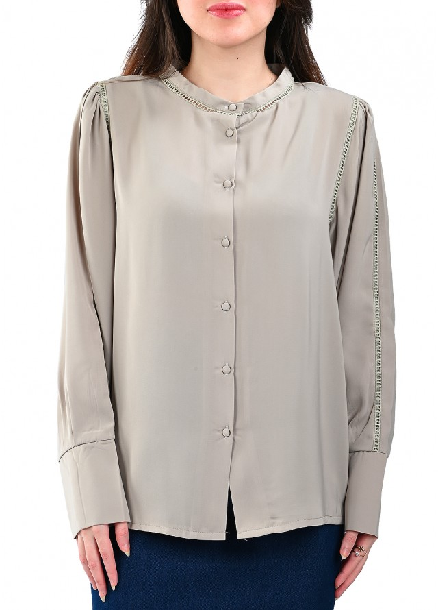 قميص رسمي كبك عريض بلون بيج