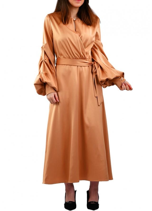 فستان حرير بأكمام بف بيج