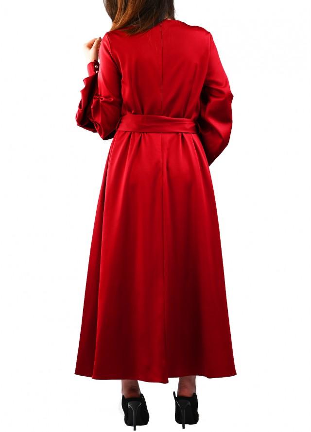 فستان حرير بأكمام بف خمري