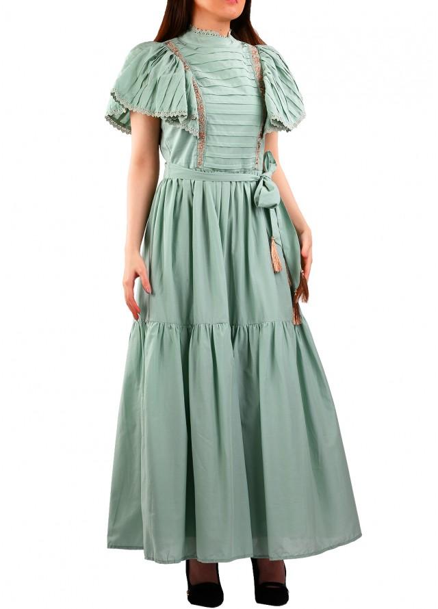 فستان قطن سماوي بأكمام مكشكشة
