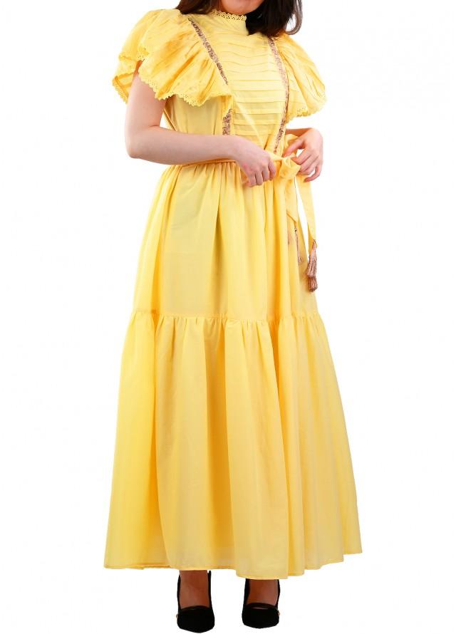 فستان قطن اصفر بأكمام مكشكشة