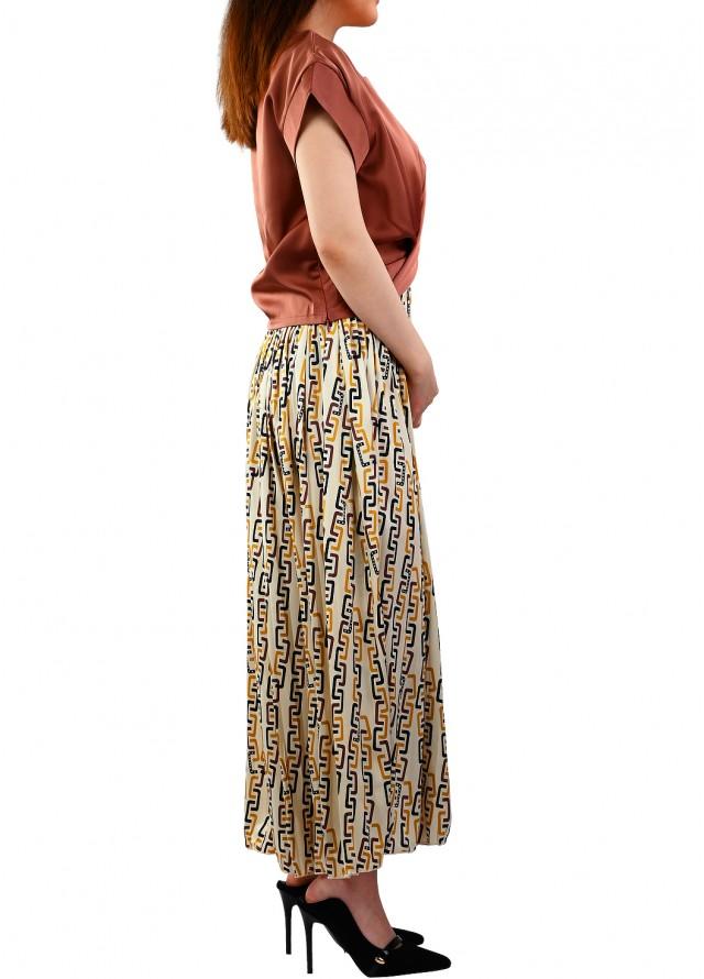 فستان حرير زم في الوسط بلون بني