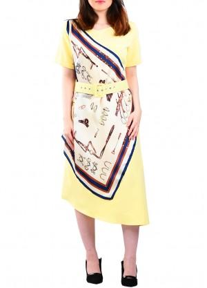 فستان كاجوال مع سكارف بلون اصفر