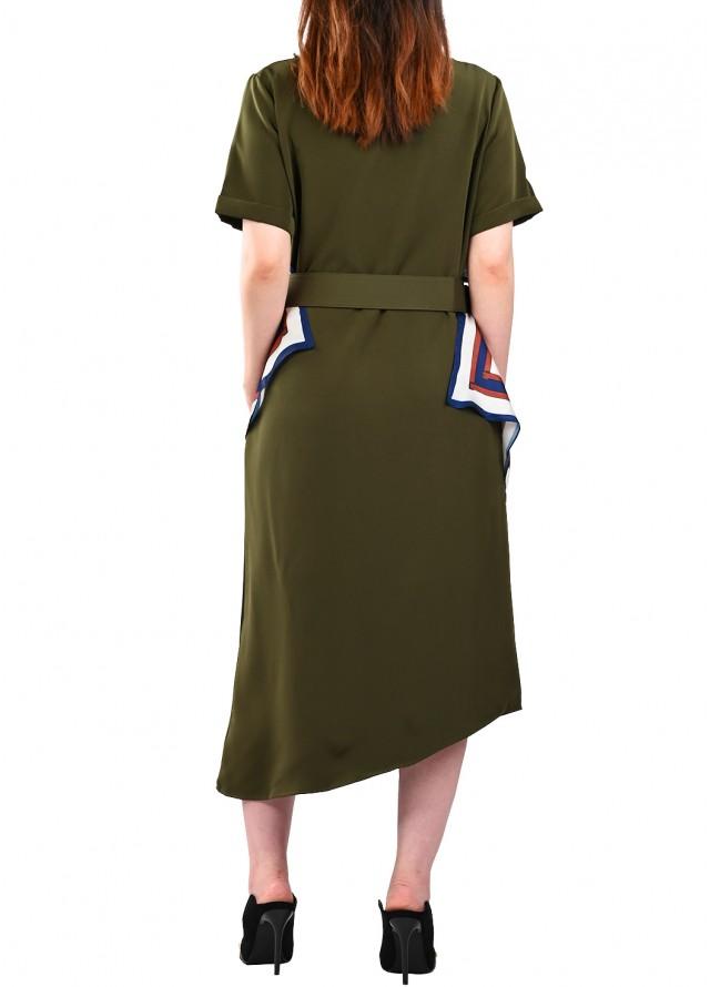فستان كاجوال مع سكارف بلون زيتي