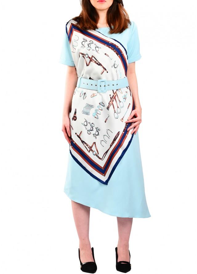 فستان كاجوال مع سكارف بلون سماوي