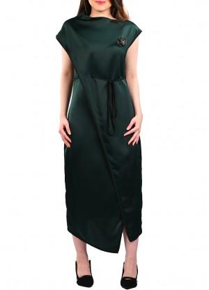 فستان كاجوال قصة لف مبتكرة بلون زيتي