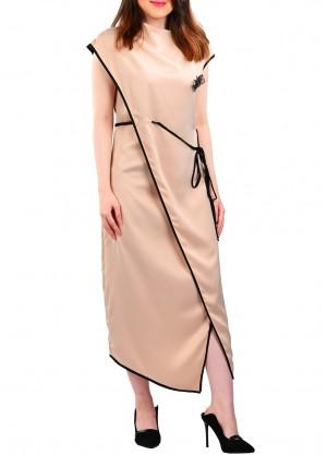 فستان كاجوال قصة لف مبتكرة بلون بيج