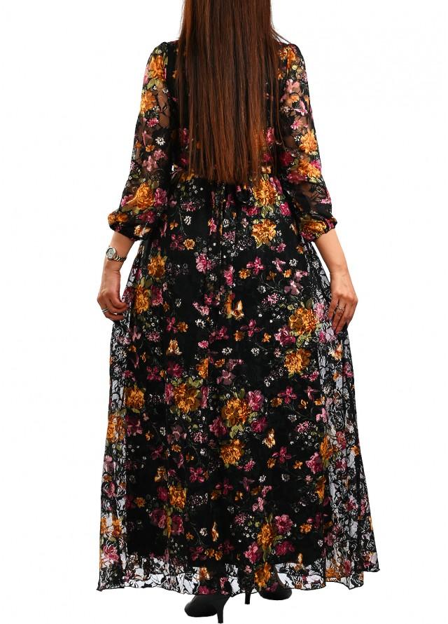 فستان دانتيل أسود مشجر