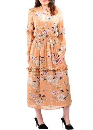 فستان جورجيت مشجر بلون بيج