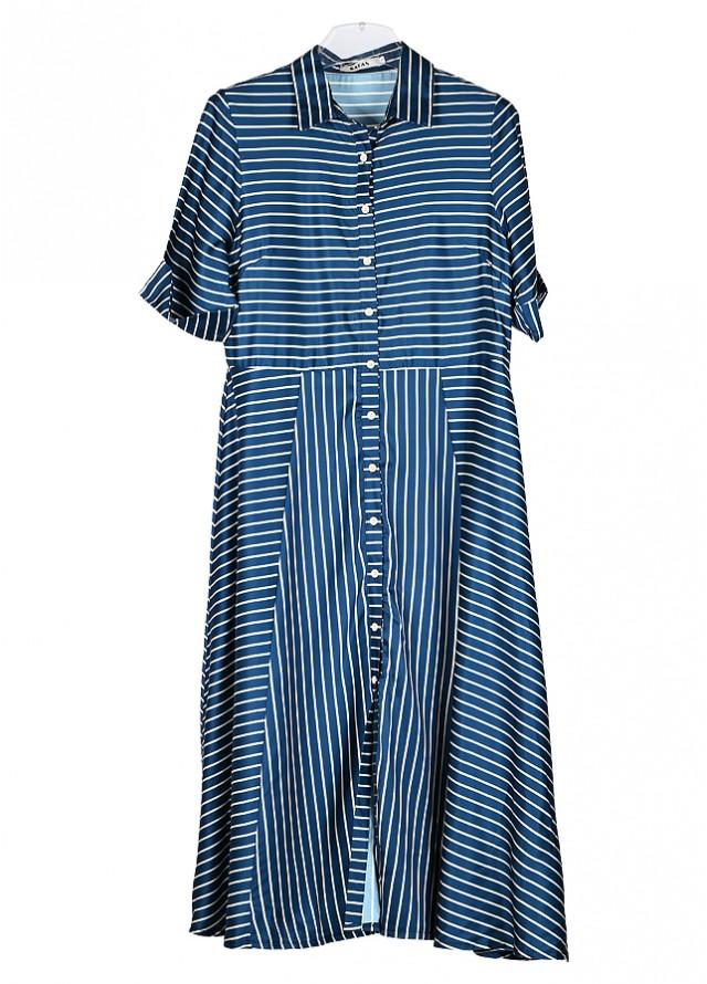 فستان كحلي مخطط بذهبي