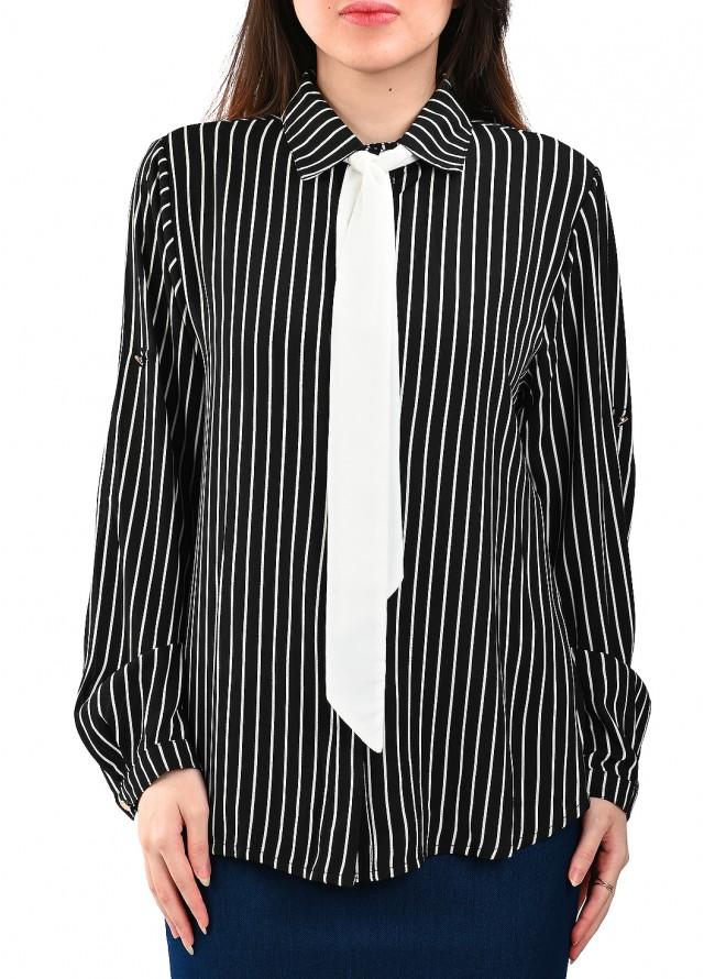 قميص رسمي مخطط بربطة بلون أسود