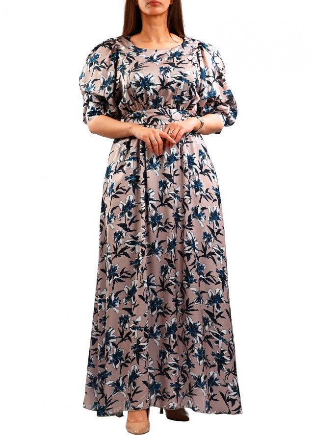 فستان طويل ناعم حرير مشجر بلون بني