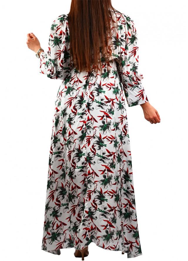 فستان طويل ناعم حرير مشجر بلون ابيض