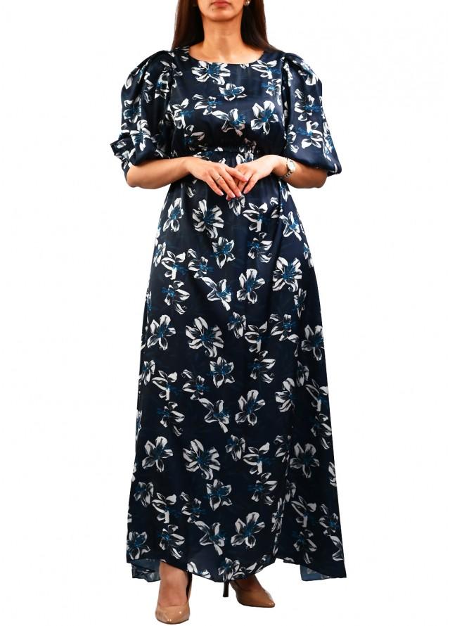 فستان طويل ناعم حرير مشجر بلون كحلي