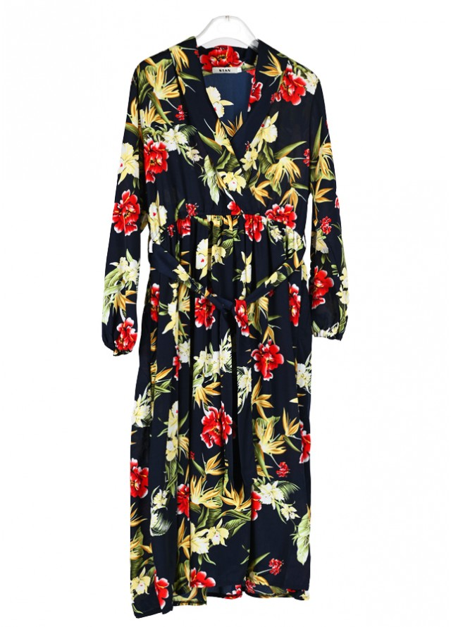 فستان مشجر ياقة لف بلون كحلي
