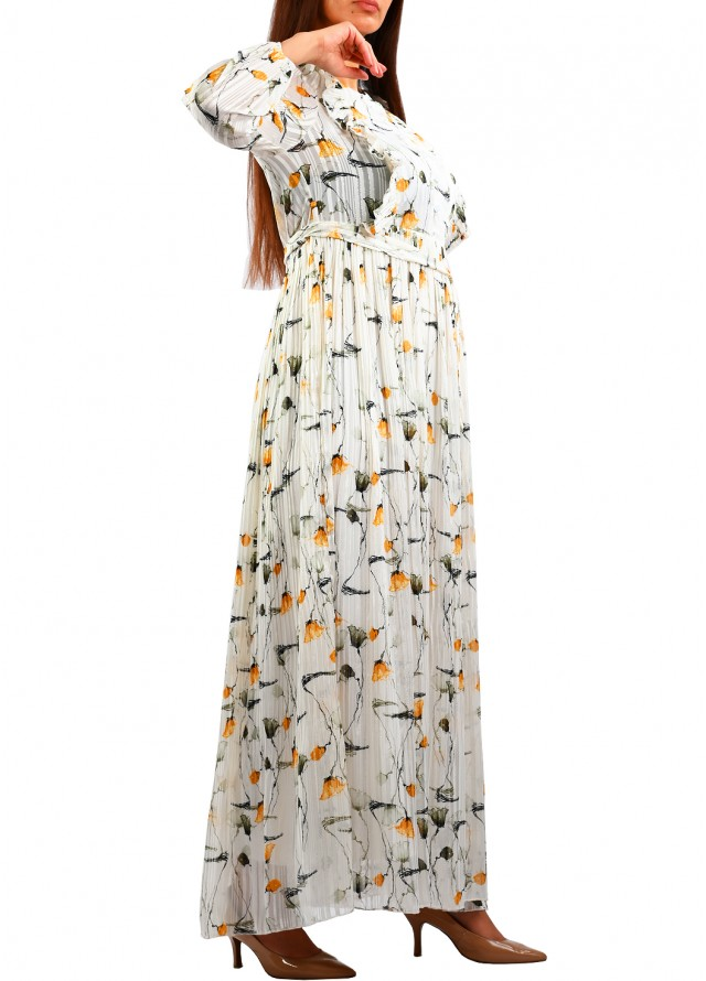 فستان ماكسي بكشكشة على الصدر بلون اصفر