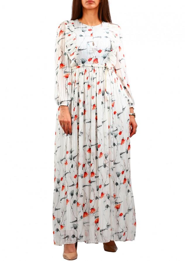 فستان ماكسي بكشكشة على الصدر بلون احمر