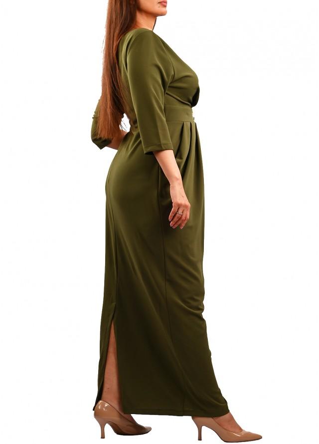 فستان سهره بف زيتي طويل