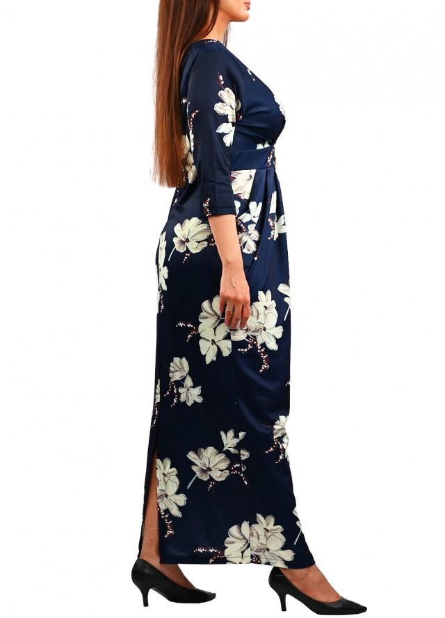 فستان مشجر ماكسي بف على الجوانب كحلي